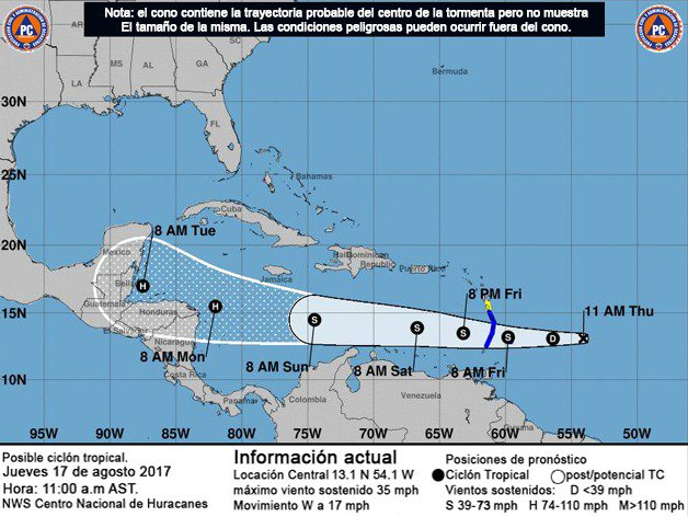 Tormenta tropical Harvey entra al Mar Caribe